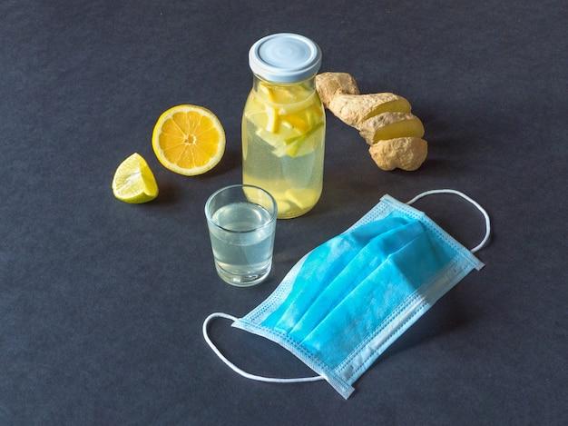 レモンとショウガの根とアルコールの抗ウイルスチンキ、免疫概念の強化、上面図