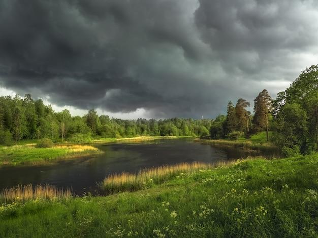 Летний грозовой пейзаж с рекой и лесом