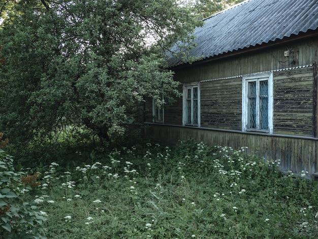 緑豊かな庭園と非常に古い本物の農民の木造住宅