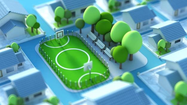 Модель спортивного поля с футбольным полем