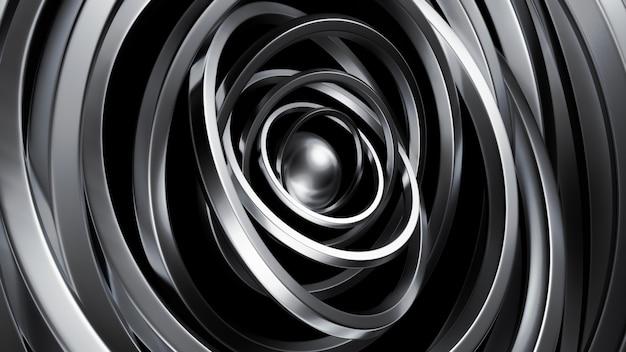 Футуристический металлик черного цвета с кольцами.