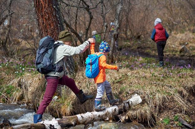 母親は子供がログを介してストリームを横断するのを助けます。大人が少女を助け、手で導く。屋外のポートレートを歩く