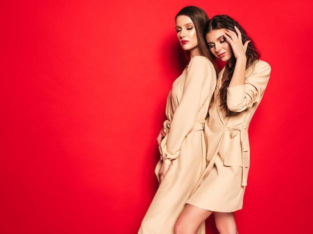 Две молодые красивые брюнетки в красивой модной летней одежде
