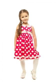 ピンクのドレスでかわいい女の子の肖像画