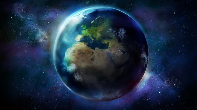 Дневная половина земли из космоса показывает африку, европу и азию