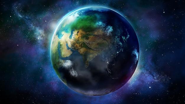 Реалистичная земля из космоса с изображением африки и азии.
