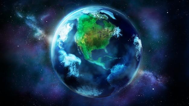 Дневная половина земли из космоса показывает северную и южную америку.