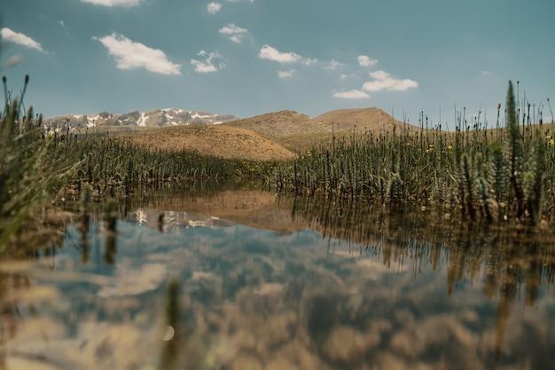 湖のある美しい山の風景