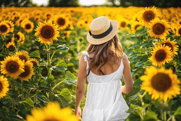 ひまわり畑の上に立って、夕日を見て女性。背面図。