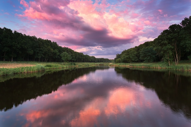 青い空、赤とオレンジの雲、緑の木々、水が反射する川の美しい夏の夕日