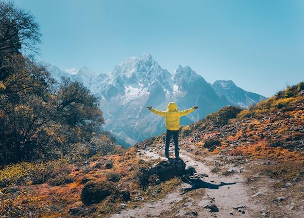 Стоящий человек с поднятыми вверх руками на камне и глядя на заснеженные горы