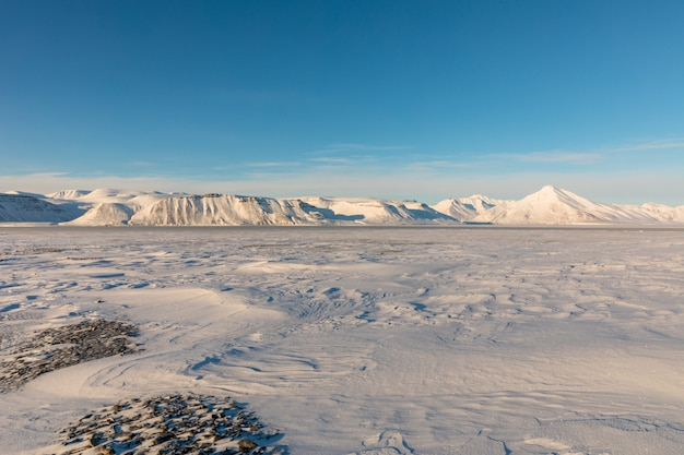 凍ったフィヨルドと雪で覆われた北極の冬の風景は、ノルウェーのスバールバル諸島の山々