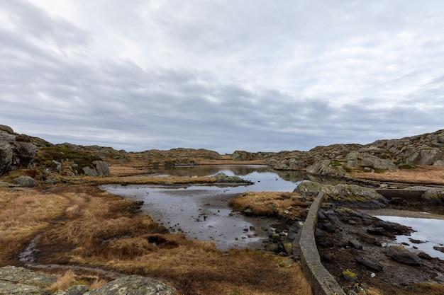 美しい空と茶色の冬の風景。ノルウェーのハウゲスンにあるロヴァー諸島の小道にある池。