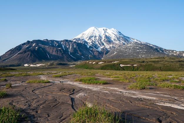 カムチャッカ半島の火山の風景