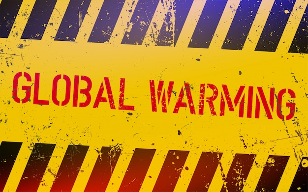 黄色と黒のストライプと危険サインの地球温暖化レタリング。
