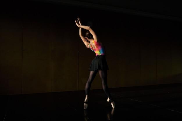 プロのバレエダンサーのウォームアップとリハーサル