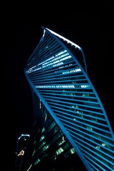夜のモスクワ国際ビジネスセンター(モスクワ市)。ロシア
