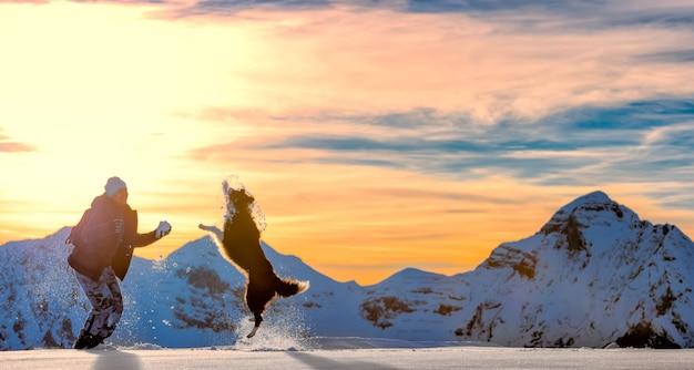 雪の中でボーダーコリーで遊ぶ女の子