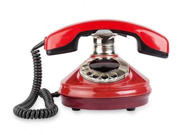 Красный старый телефон