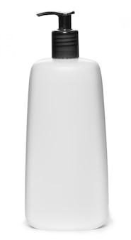クリーム、シャンプー、またはボディミルクの白いボトル、黒いディスペンサーキャップ付き。