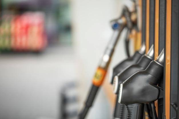 ガソリンスタンド、ガソリンスタンド。マクロ、セレクティブフォーカス。