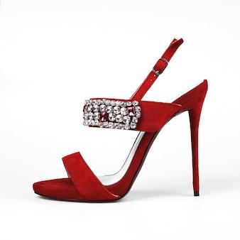 かかとのファッション女性赤い靴。
