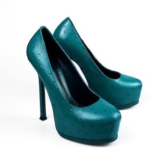 Женские синие туфли на высоком каблуке