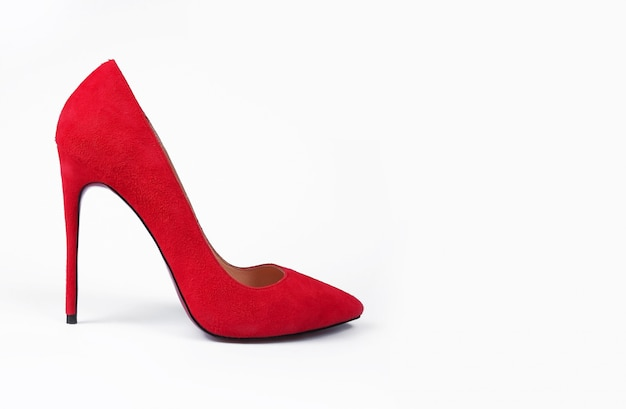 白地に赤い靴
