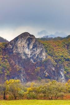 Скалистые горы и красочные осенние листья и деревья в долине