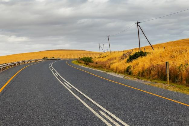 Пышная сельская дорога в южной африке в весенний сезон