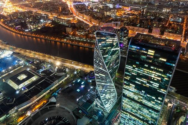 Московский городской деловой район ночной вид со смотровой площадки