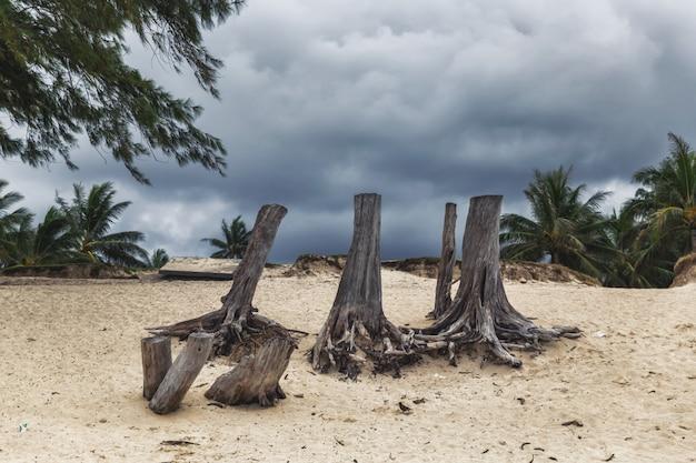 ハワイ、オアフ島のカイルアビーチの荒天時に暗い曇り空