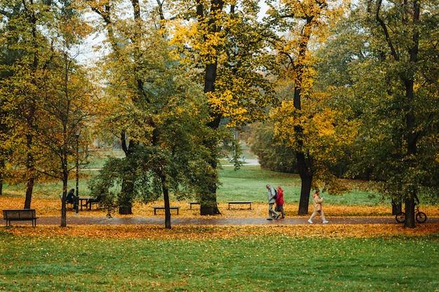 Люди, идущие в парке летна в осенний сезон, прага, чешская республика