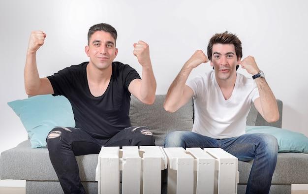 Два друга мужского пола, сидящие на сером диване с подушками, делают жесты победы