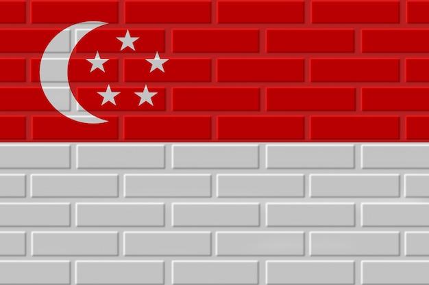 シンガポールのレンガの旗のイラスト