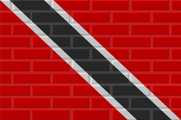 トリニダードトバゴのレンガの旗のイラスト