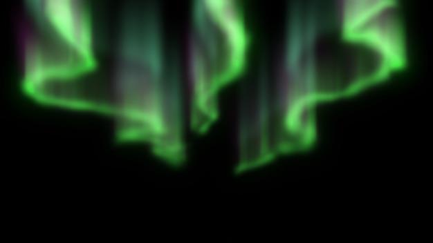 Зеленое северное сияние на черном фоне