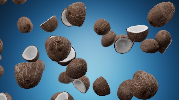 青い壁に落ちるココナッツ