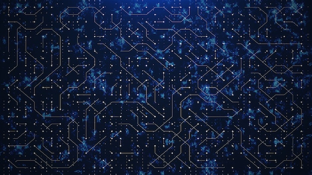 抽象的な青い世界回路