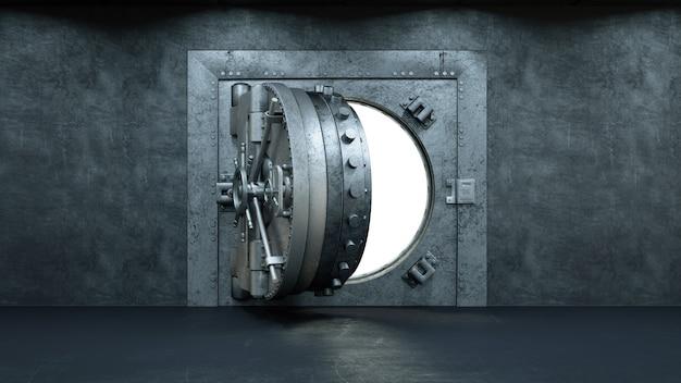 銀行の金庫室の扉を開く
