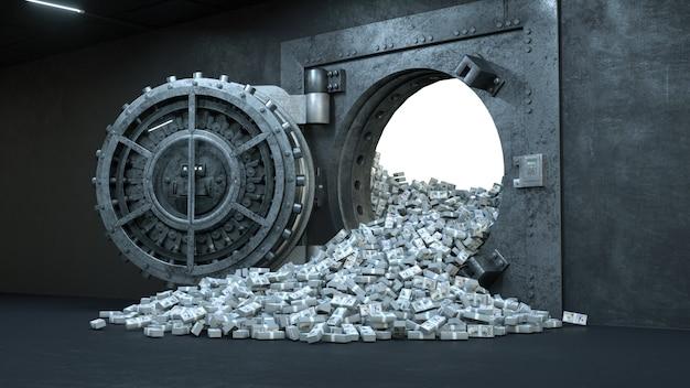 たくさんのお金で銀行の金庫室の扉を開く