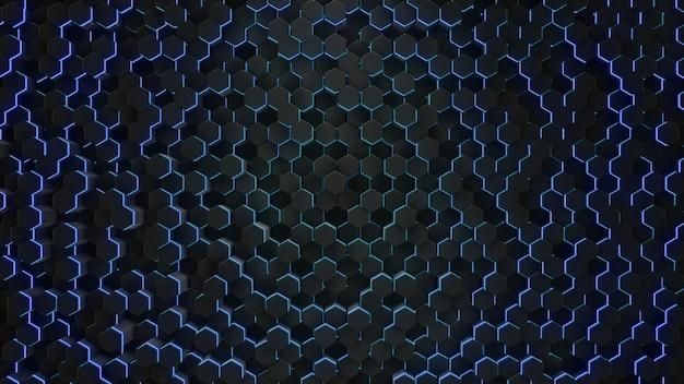 ネオン幾何学の抽象的な六角形