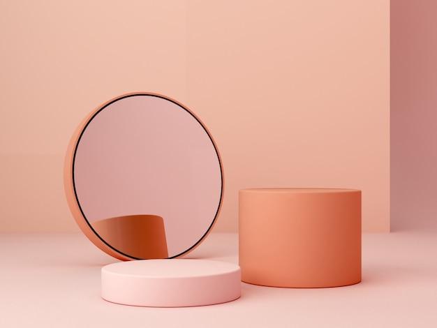 幾何学的形態と抽象的な最小限のシーン。クリーム色と鏡のシリンダー表彰台。