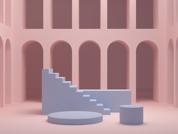 化粧品を示すための幾何学的な形のシーン。