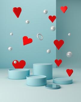 Сцена сан-валентина с геометрическими формами с пустым подиумом. геометрические фигуры