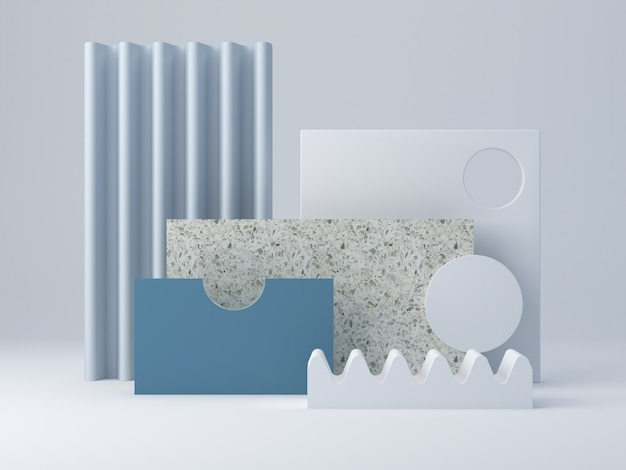 織り目加工の形状と表彰台を備えた最小限の風景。テラゾー層と曲面形状