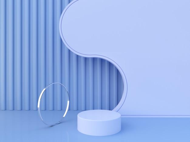 空の表彰台と幾何学的および液体の形のシーン。幾何学的形状