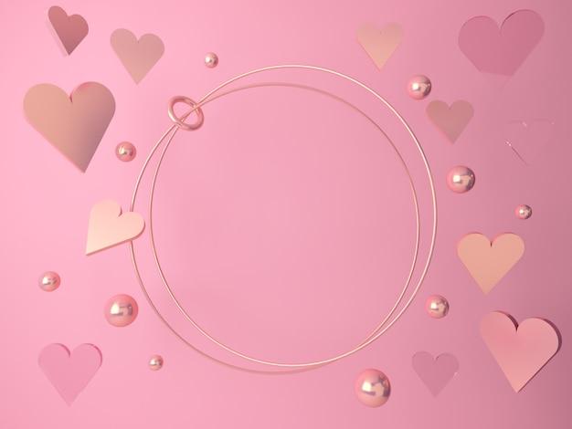 バレンタインのシーン、ロマンチックな心が落ちます。空白の抽象的なシーンゴールドピンクとガラスの図形