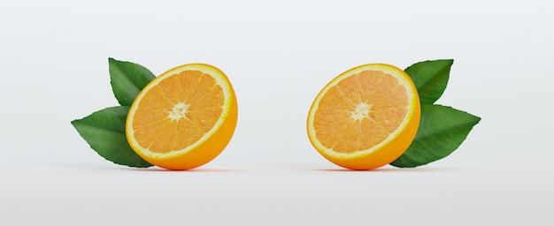 Две половинки апельсина с листьями