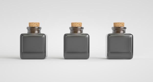 Три черные прозрачные стеклянные бутылки с пробками.